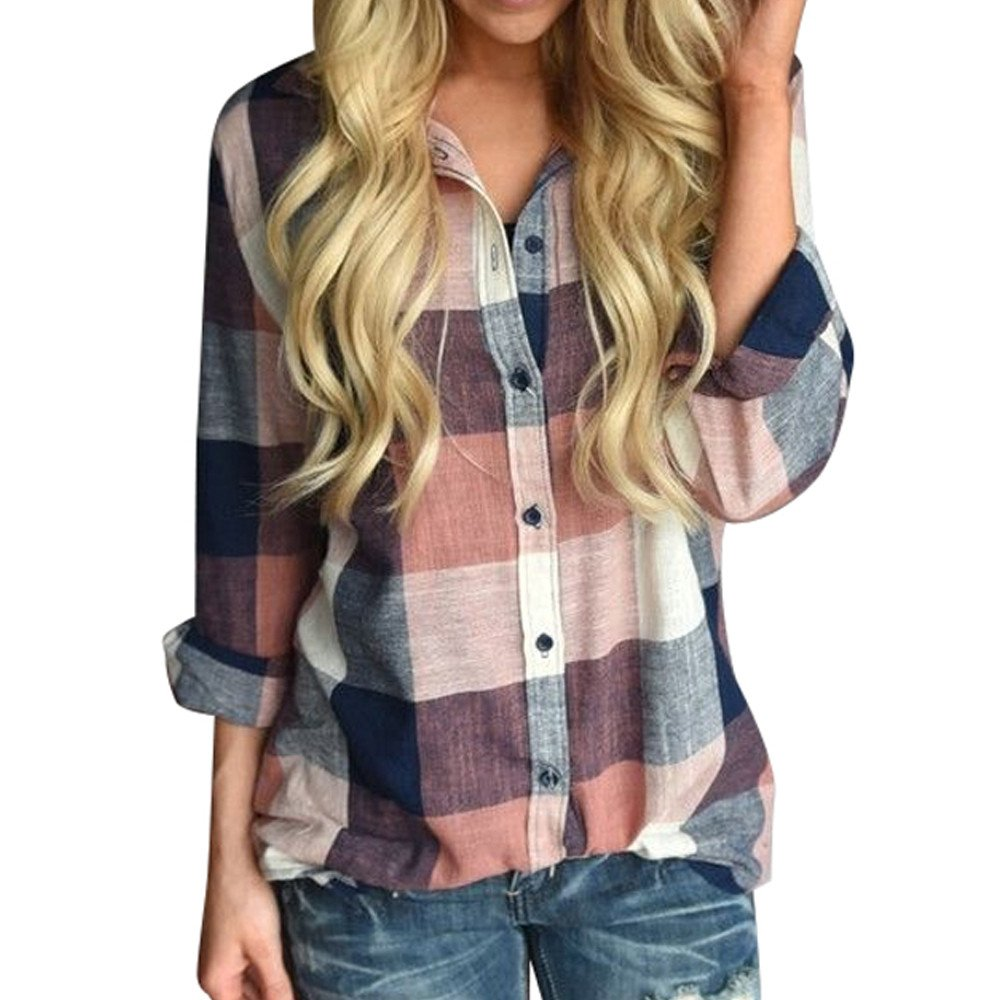 Women Casual Long Sleeve Tunic Shirts Colorful Plaid Button Loose T-Shirt Blouse Cardigan Tops by LUCA (Image #1)
