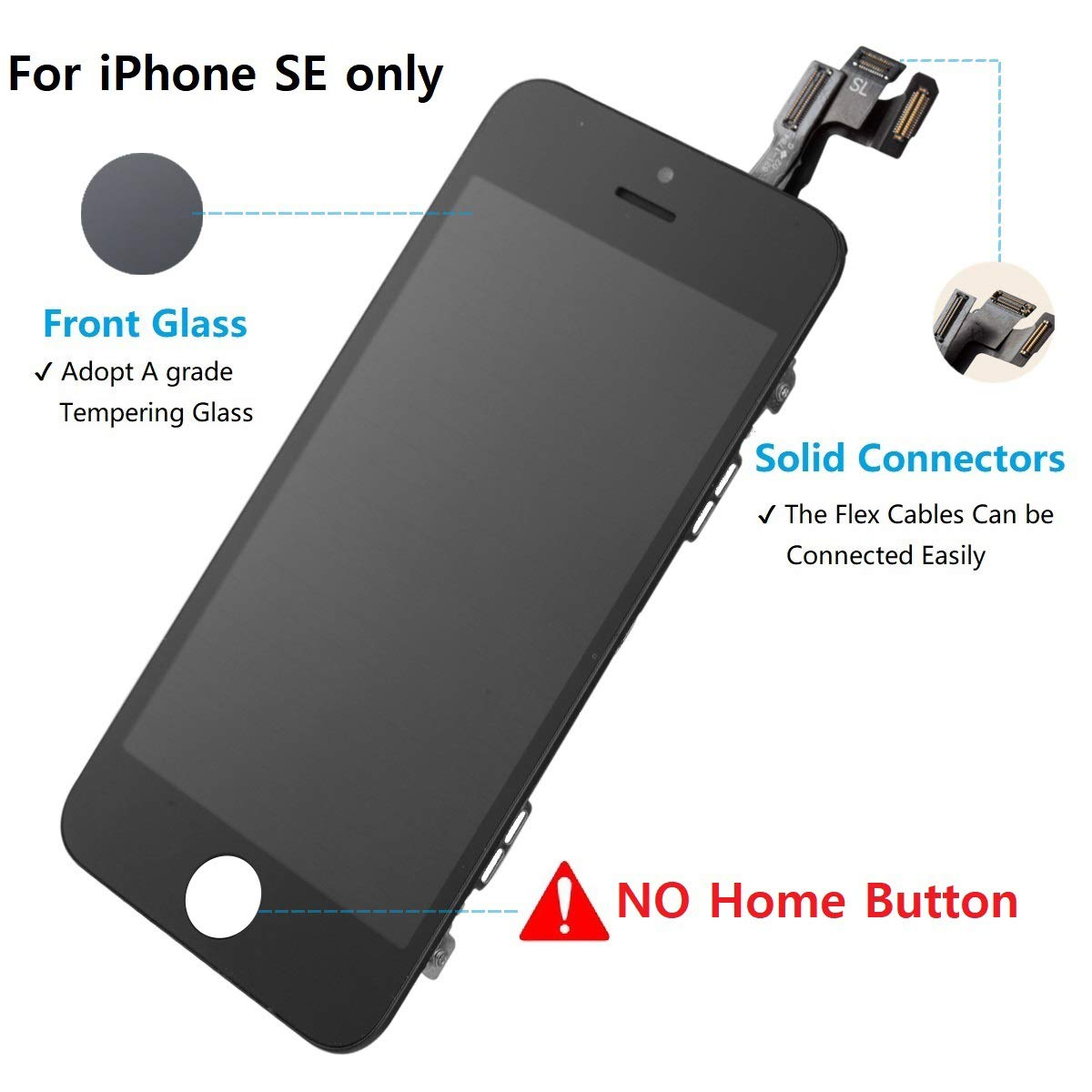 4.0 Drscreen LCD Display Touch Screen Digitizer Compatible with iPhone 5SE for Model A1723,A1662,A1724 Pre-Assembly with Front Camera and Ear Speaker for iPhone SE Screen Replacement Black