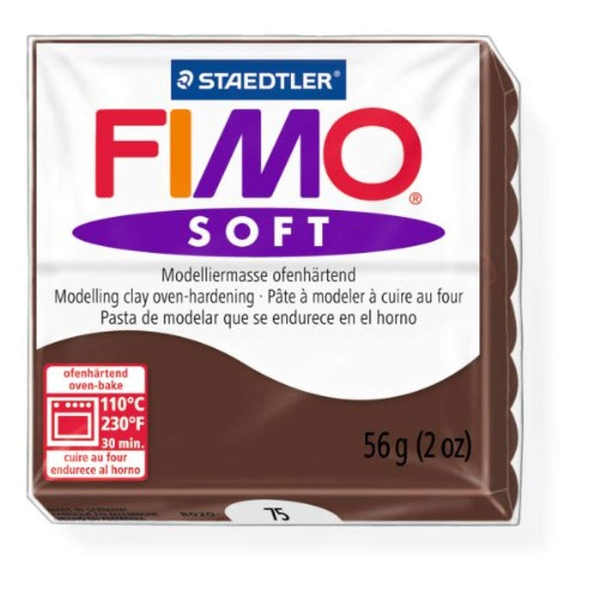 Staedtler Fimo Soft Chocolate (75) Oven Bake Modelling Clay Moulding Polymer Block Colour 56g (1 Pack)