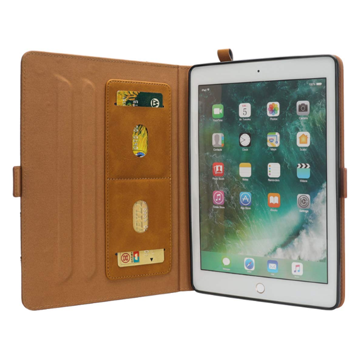 iPad 6th Generation Cases with Pencil Holder, Premium PU Leather Folio Case Soft TPU Back Protective Stand Cover with Card Slots for iPad 9.7 Inch 2018 (6th Gen) / iPad 9.7'' 2017 (5th Gen) –Khaki by KATEGY (Image #8)