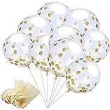 Amaza 24 Stück Konfetti Luftballons Gold Transparent Konfetti Ballons zum Befüllen für Geburtstagsfeier Hochzeit Party Deko (Gold)