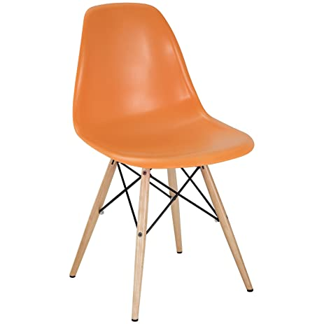 Modway Plastic Side Chair In Orange With Wooden Base