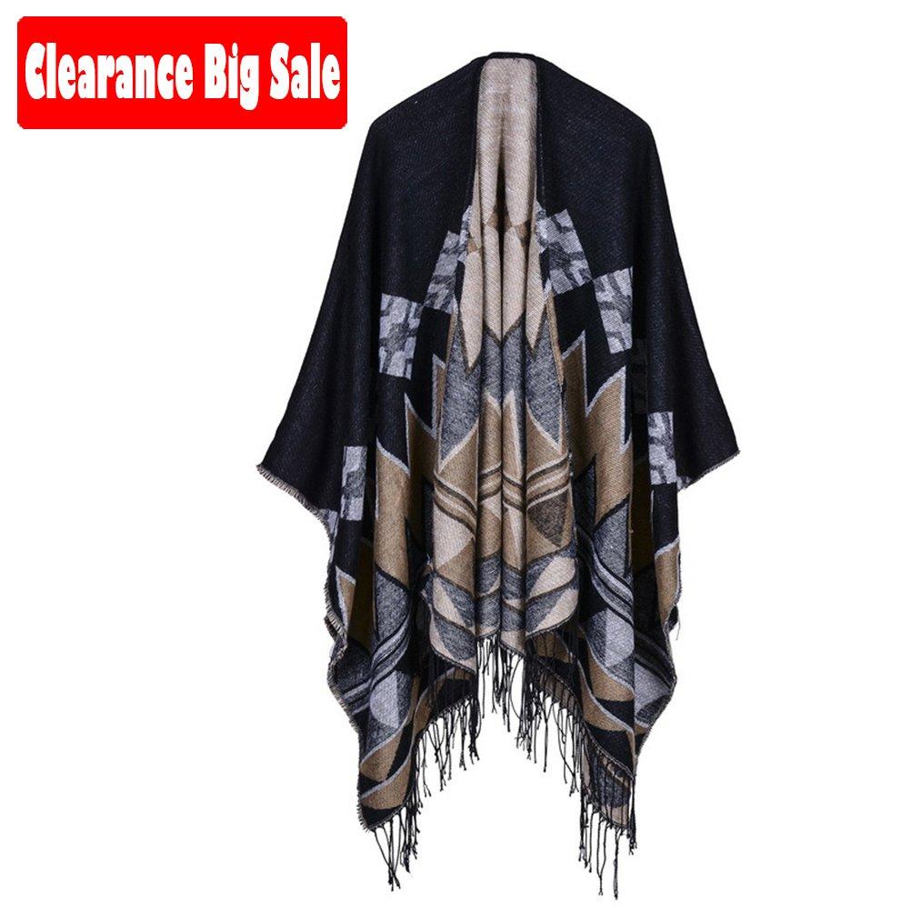 Poncho Cape,Jelinda Womens Rhombus Tassels Cape Cloak Warm Poncho (Black Coffee)
