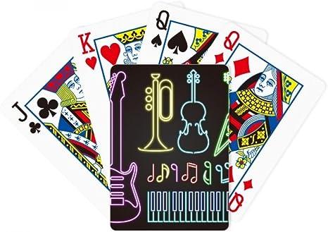 Guitarra instrumentos musicales neón póker jugar cartas mesa juego regalo: Amazon.es: Deportes y aire libre