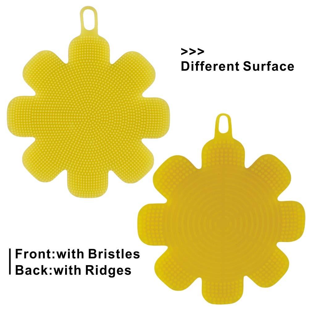 M MOACC Silicone Sponge Brush Scrubber Dishwashing Pot Washing Fruit Vegetable Cleaner BPA-Free Pack 2 Yellow