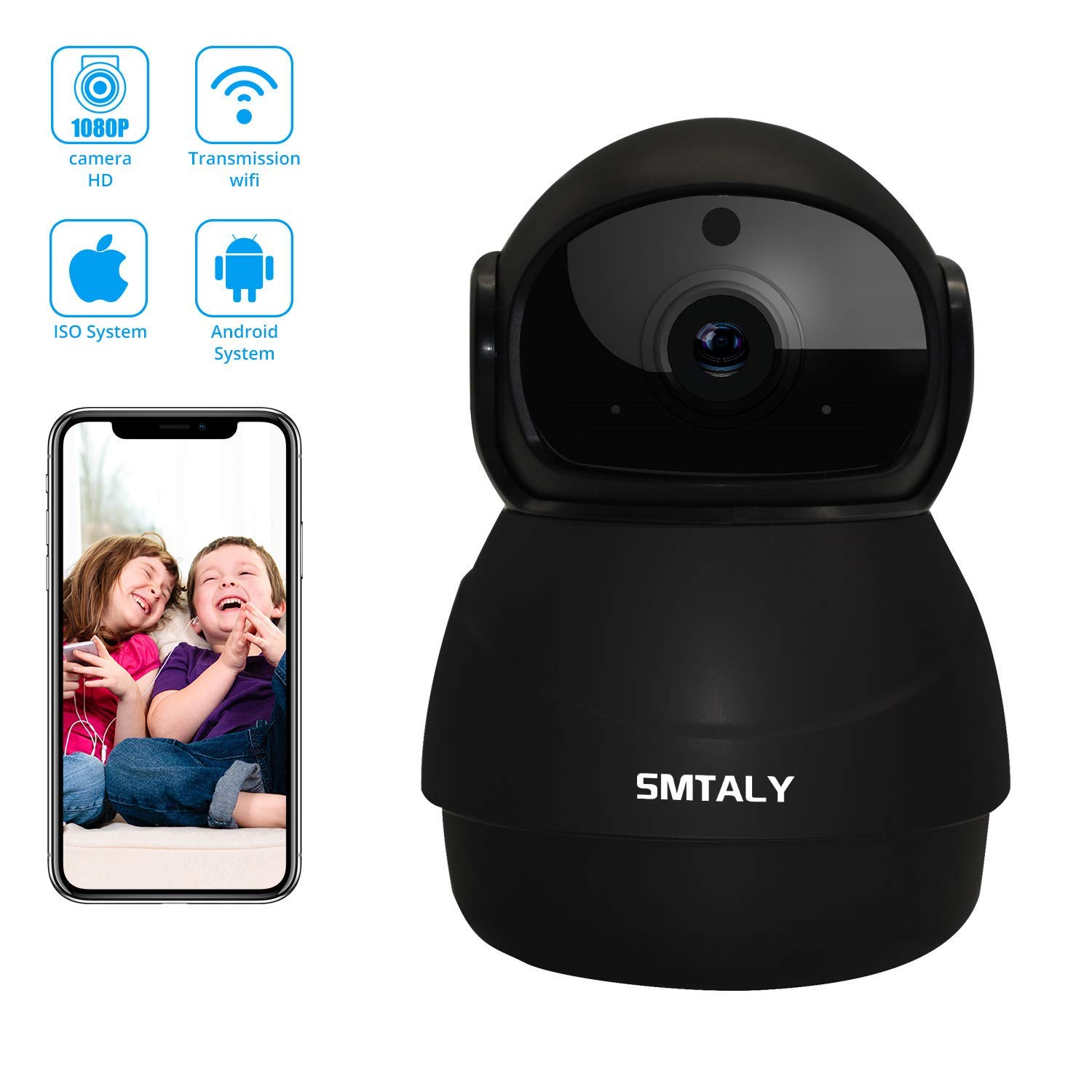 SMTALY Baby Monitor with Camera and Audio 1080P Panoramic Viewing Surveillance Camera with Night Vision 2-Way Audio Auto-Cruise Motion Detection Wireless HD Dome Camera for Pet Baby Elder