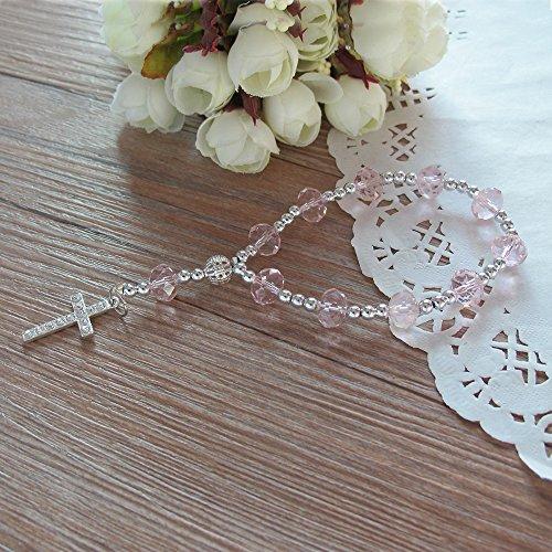 (Pink Crystal Rosary Bracelet Rhinestone Cross 12 Pcs/pack - Baptism Favor / Wedding Favor / First Communion Favor / Quinceanera Party Favor)