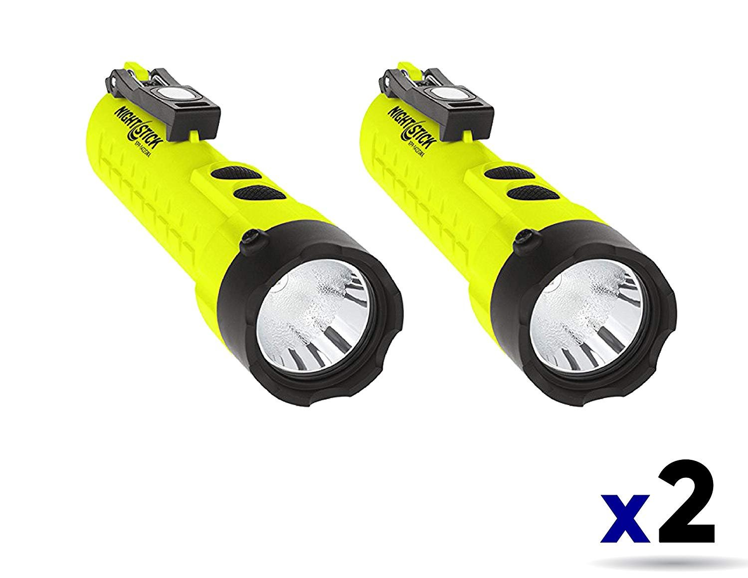 Nightstick XPP-5422GMX X-Series Intrinsically Safe Dual-Light Flashlight with Dual Magnets Green/Black (2 Pack)
