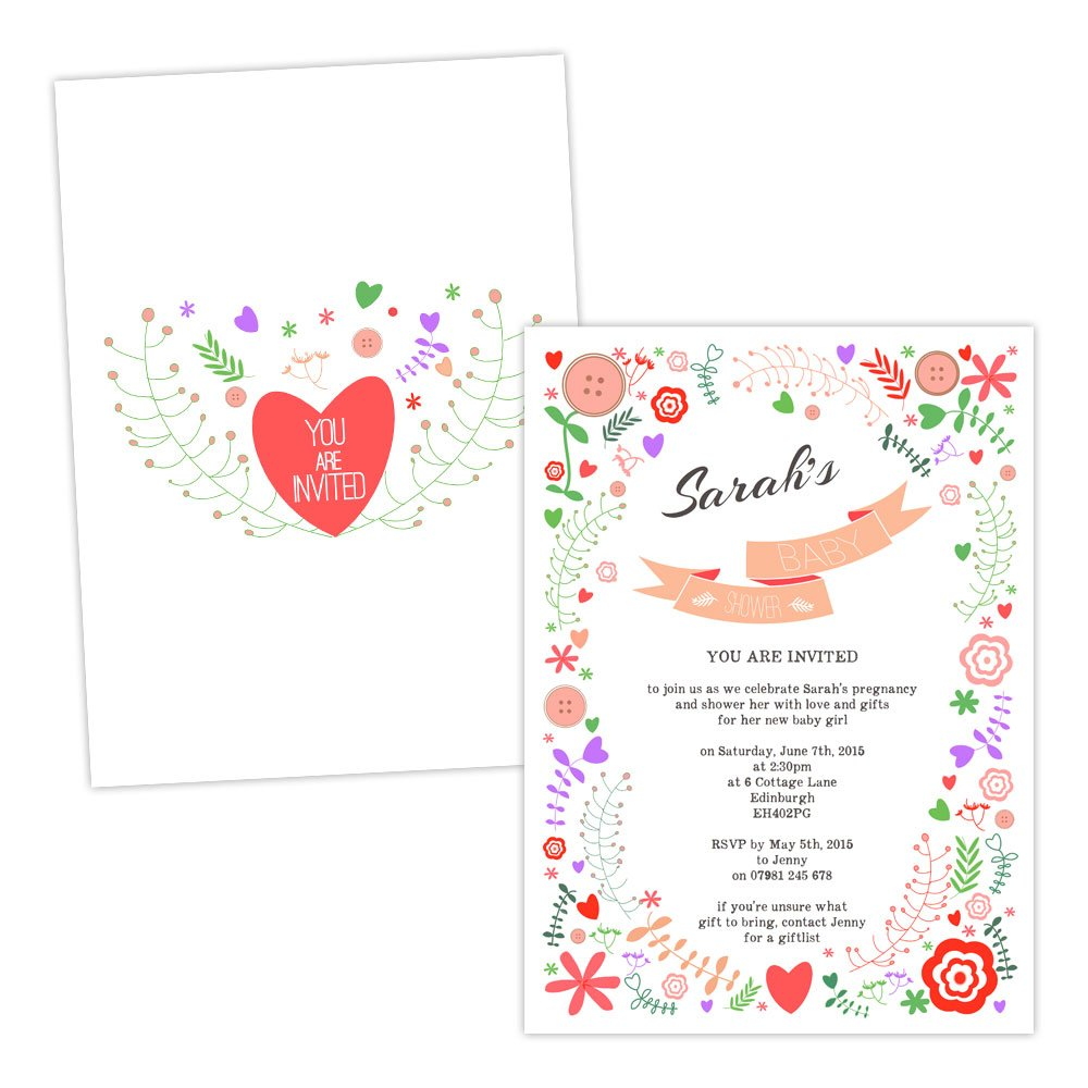 A5 double-sided Silk card Made by Mika Personalised baby shower invitations INDIE COLOURFUL FLORAL FREE DRAFT & FREE ENVELOPES (200, A5 double-sided Silk card)