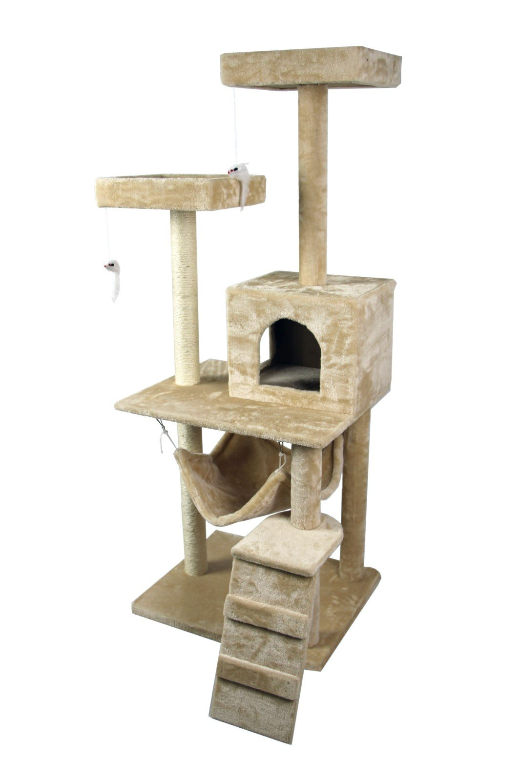 Hiding Nice Cat Tree Tower Condo Furniture Scratch Post Kitty Pet House Play Furniture Sisal Pole Stairs and Hammock, 29.92'' L, Beige by Hiding (Image #6)