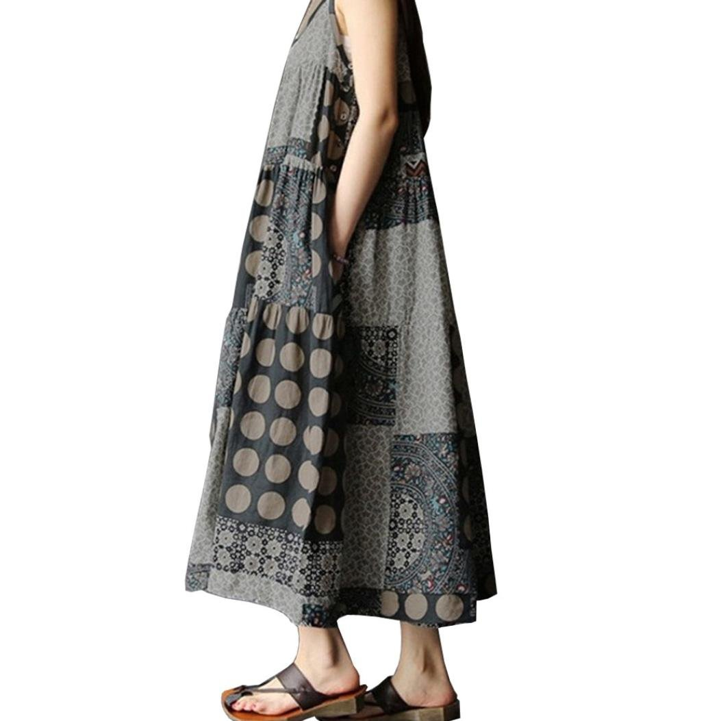 TOTOD Women Summer Sleeveless Linen Strappy Loose Bohe Print Long Casual Sling Dress Plus Size (S, Gray)