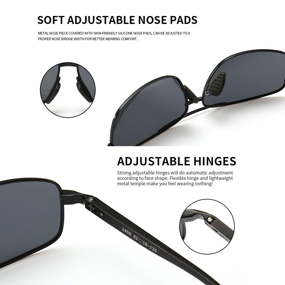 d74848dcc295f SUNGAIT Ultra Lightweight Rectangular Polarized Sunglasses 100% UV  protection (Black Frame Gray Lens