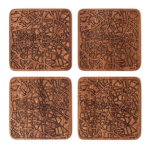 (Berlin Map Coaster by O3 Design Studio, Set Of 4, Sapele Wooden Coaster With City Map,)