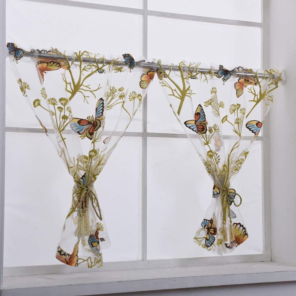 Heart Balloon Tulle Voile Door Window Panel Sheer valance curtains Blue 1x2M