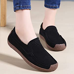 fc9e60a7d1c695 Womens Wide Platform Penny Loafers Slip On Wedge Sneakers Comfortable Work  Shoes