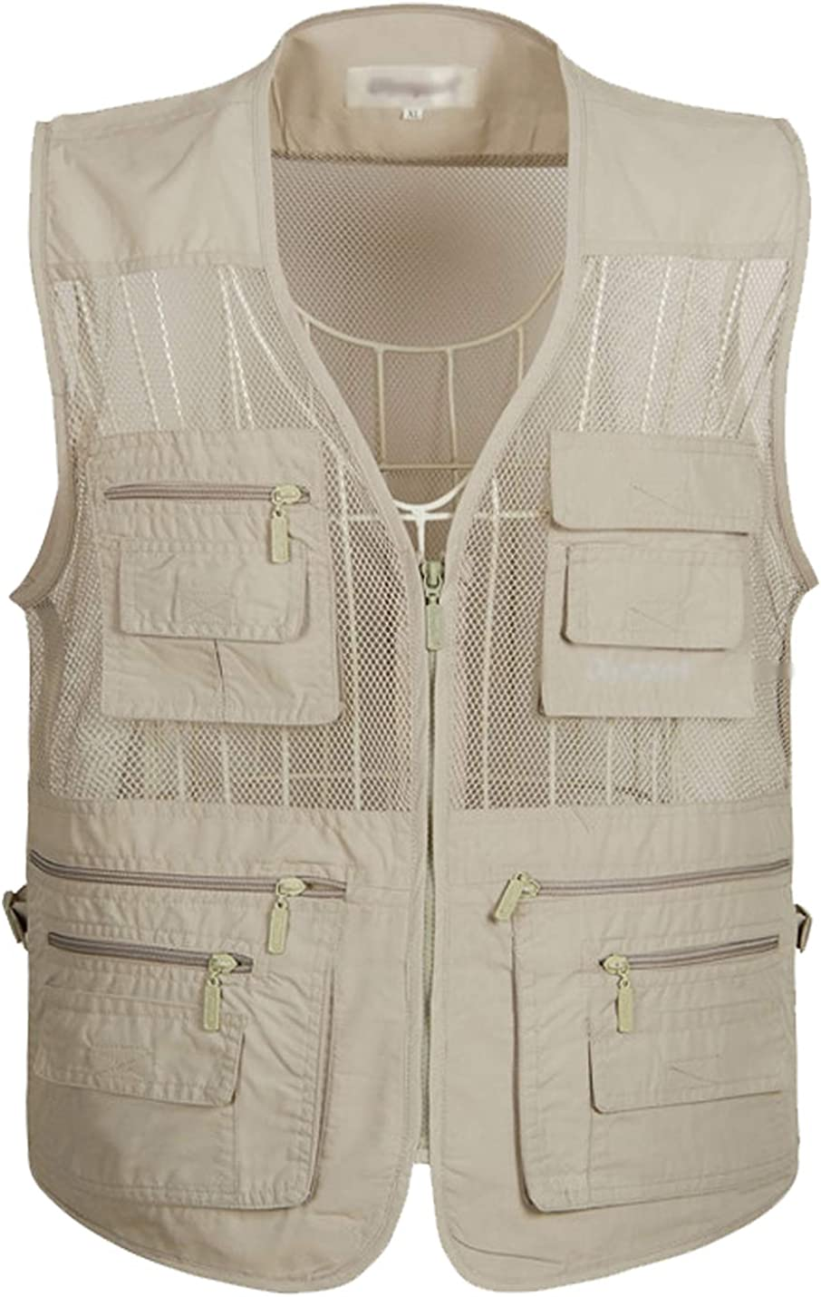Flygo Mens Summer Mesh Fishing Vest Photography Work Multi-pockets Outdoors Journalists Vest Sleeveless Jacket XX-Large, Khaki