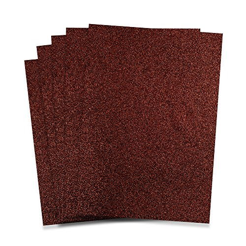Rozzy Crafts - Brown Glitter Heat Transfer Vinyl (HTV) - 5 Sheets Each 12 inches by 10 inches - Works with Cricut, Silhouette, and All Other Cutting Machines