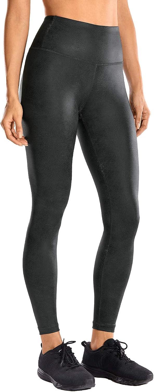 CRZ YOGA Leggings Mujer Cintura Alta Pantalones Deportivos Cuero Sintético leggings-64cm