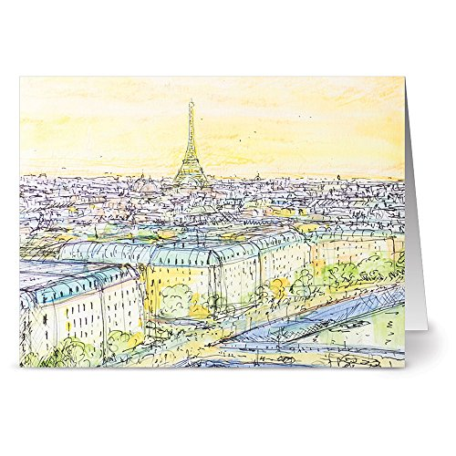 24 Note Cards - Eiffel Tower at Sunset - Blank Cards - Gray Envelopes Included ()