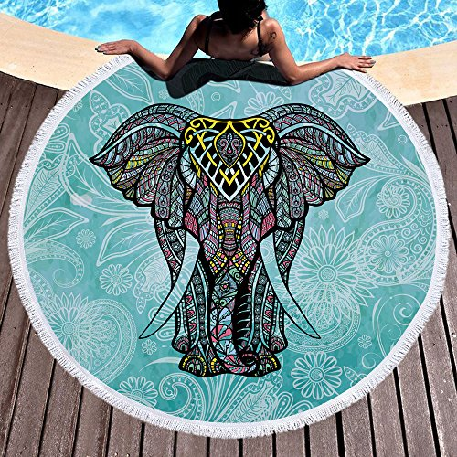 Violet Mist Elephant Round Beach TowelsIndian Mandala Blanket Roundie Boho Gypsy Large Microfiber Yoga Mat Tapestry Soft Water Absorbent Terry Towel Throw 59'' with Tassel Fringing (Elephant) (Beach Elephant)