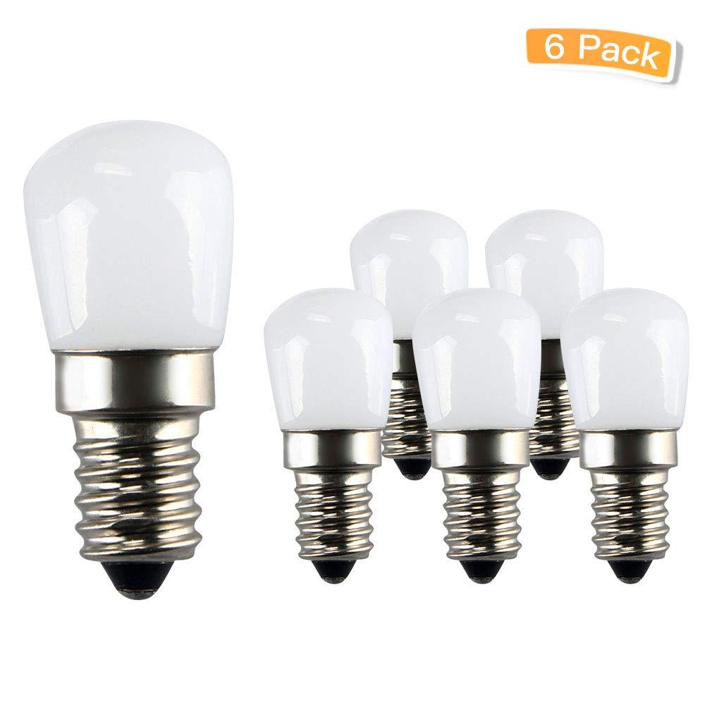 LXcom Ceramic E12 LED Refrigerator Bulb Indicator Light 2W Candelabra Base 15W Incandescent Light Equivalent 110V LED Appliance Bulb Dimmable Refrigerator Light Bulb Daylight White 6500K, 6 Pack
