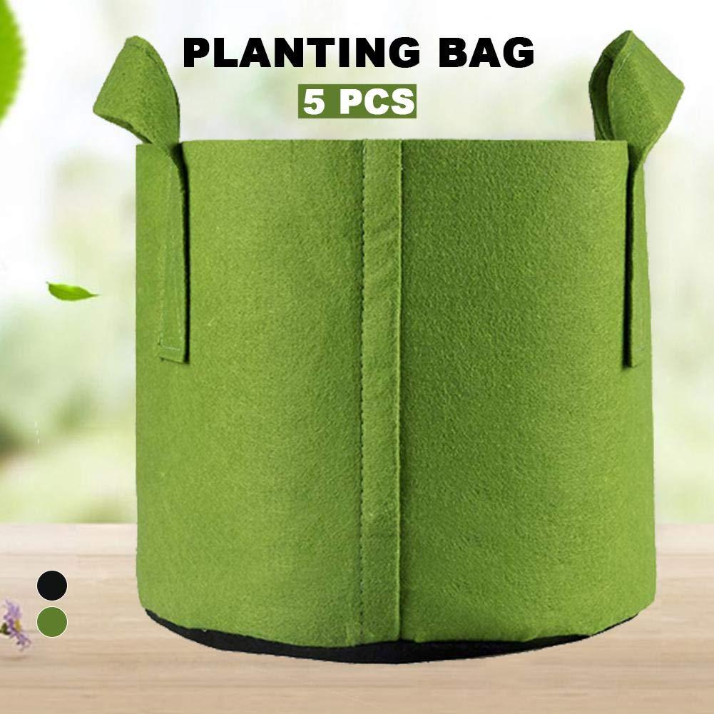 Tingtin Pack De 5 Sacs De Culture pour Plantes Sacs De Jardini/ère en Tissu Non Tiss/é R/ésistant Et Durable avec Sangles pour Poign/ées Sac De Plantation Vert Respirant