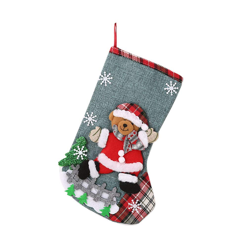 Fabal Christmas Socks Santa Claus Candy Gift Bag Hanging Decor Home Decoration (B)