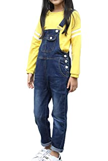 55c364d953f LAVIQK Girls Big Kids Distressed Denim Overalls Blue Jeans Strecthy Ripped  Jeans Romper