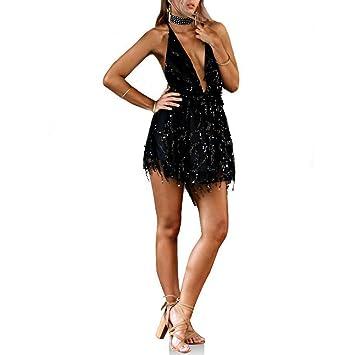 9e6c5b7603d Wildeal Mode d été Femme Sexy Mini Robe décolleté V Plongeant Dos Nu Dos Nu