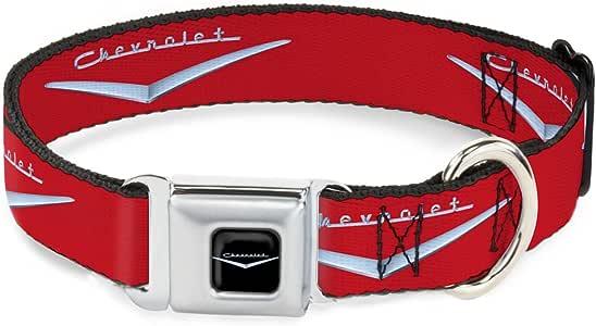 Buckle-Down DC-WCH041-WS Seatbelt Dog Collar, Wide Small, 1955-57 Chevrolet V Emblem Red/Silver