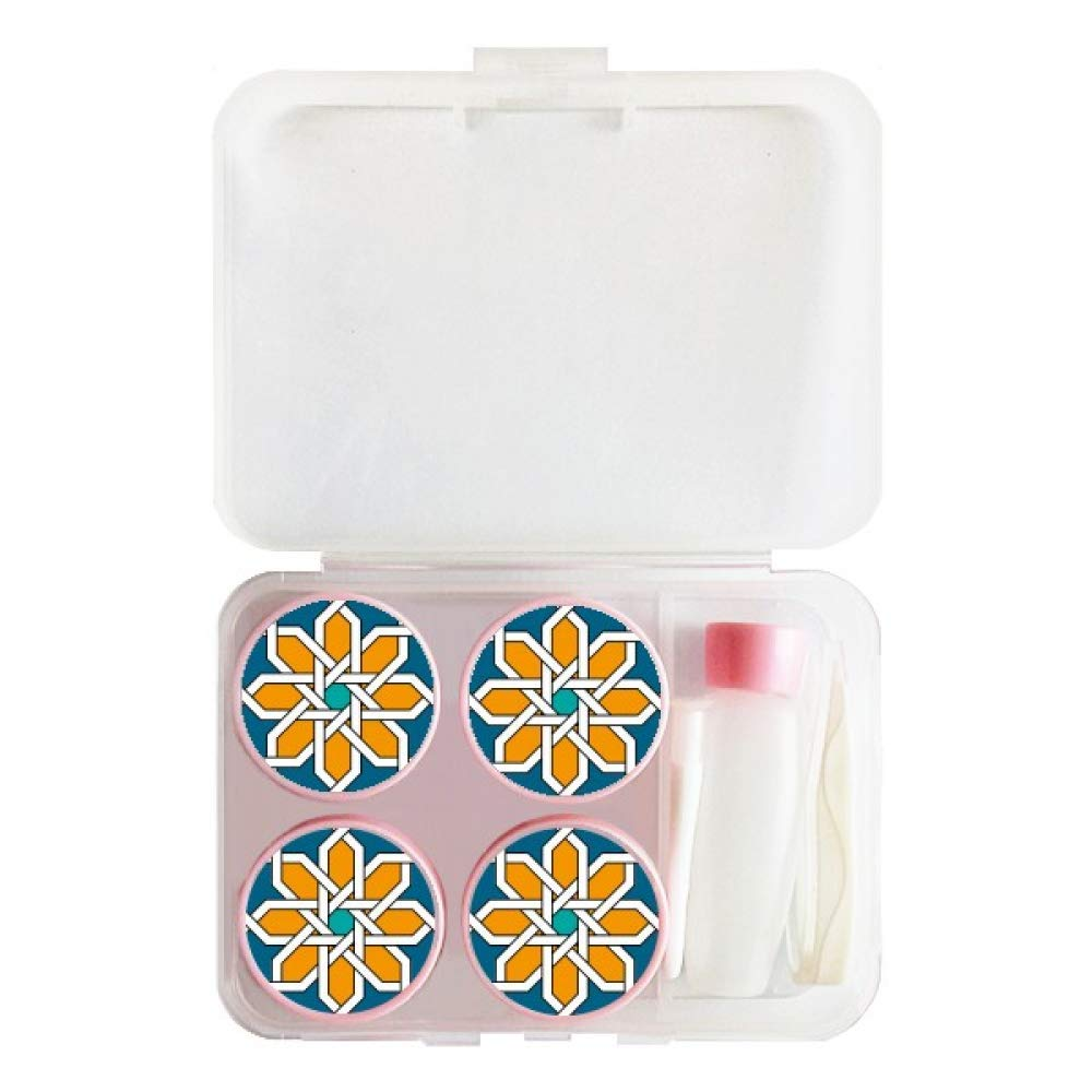 Flower Morocco Style Abstract Geometry Contact Lens Case Bulk Tweezers Container Holder