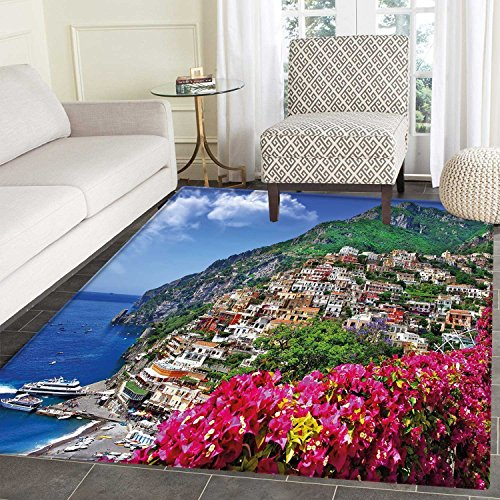 Italy Customize Floor mats for home Mat Scenic View of Positano Amalfi Naples Blooming Flowers Coastal Village Image Oriental Floor and Carpets 3'x5' Pink Green (Amalfi Oriental Area Rug)