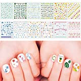 Whaline Mixed Nail Art Stickers 3D Self-Adhesive Leaves Stickers Flamingo Cactus Fruits Ocean Leaves Decals for Women Girls Kids Manicure DIY or Nail Salon, 12 Sheets (More than 1000Pcs)