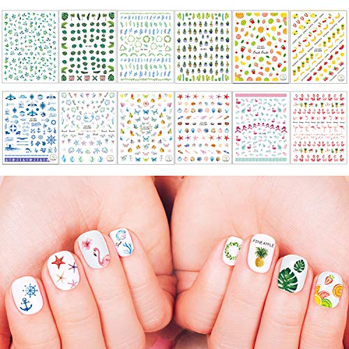 Whaline Summer Nail Art Stickers 3D Self-Adhesive Stickers Flamingo Cactus Fruits Ocean Leaves Decals for Women Girls Kids Manicure DIY or Nail Salon, 12 Sheets (More than ()