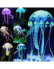 Pawfly 6 PCS Glowing Jellyfish Ornament Decoration for Aquarium Fish Tank