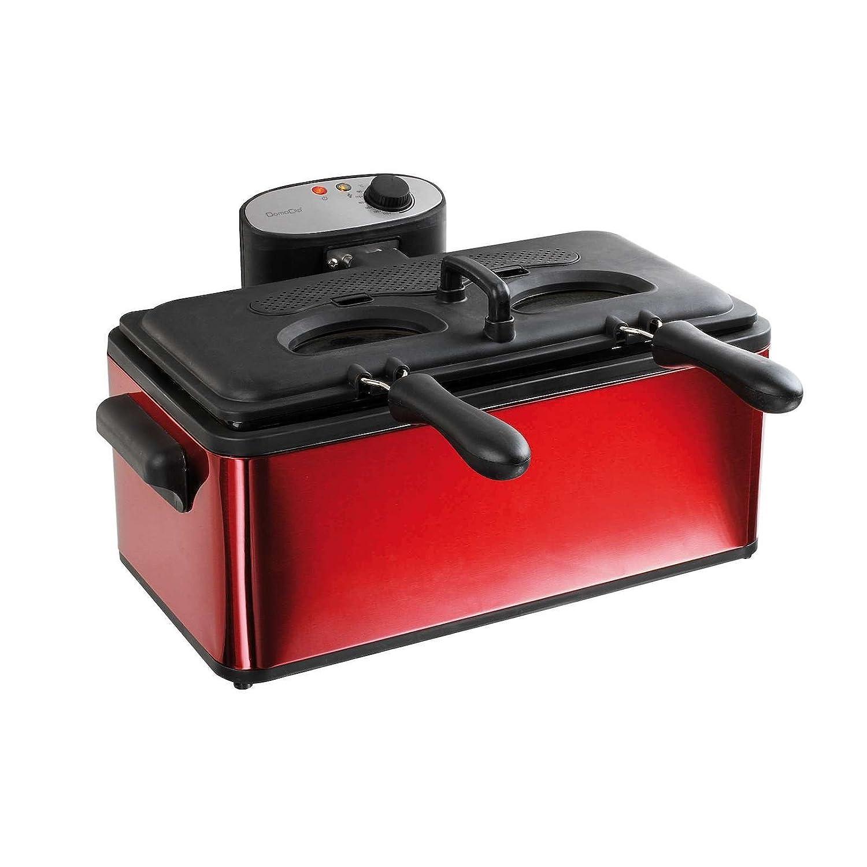 XXL de freidora fuerte 3000 W Volumen 6 litros (doble freidora, tapa, ventana, 2 frito pequeñas cestas, 1 grande cesta de freír, filtro de olores): ...