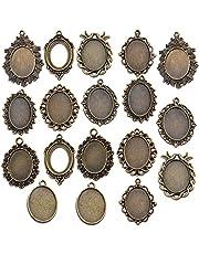 18 قطعة من صواني القلادة، 25 × 18 مم بيضاوية الشكل من الكابوشون إعدادات صينية متدلّة الفراغات لصناعة المجوهرات بنفسك - 9 أنماط، برونزي عتيق