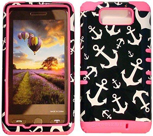 Cellphone Trendz High Impact Hybrid Rocker Case for Motorola Droid Maxx XT1080M / Droid Ultra XT1080 - White Anchor on Black Hard Shell (Pink)