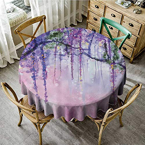 familytaste Tablecloths for Restaurant Watercolor Flower Decor Collection,Wisteria Flowers Tree Blurred Design,Navy Lilac Aubergine Blue Violet D 50