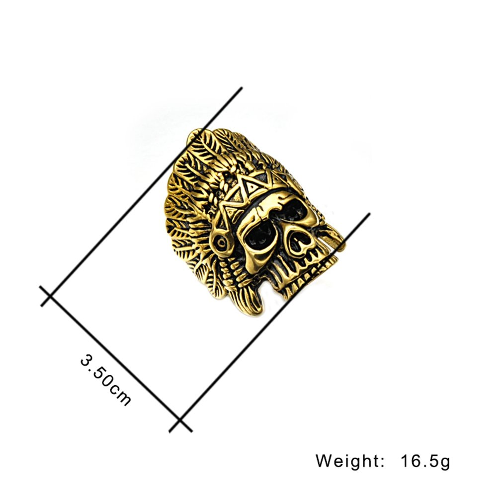SAINTHERO Men's Vintage Stainless Steel Band Rings Gothic Indian Chief Skull Hip-hop Jewelry Punk Biker Rings Gold Black 12 by SAINTHERO (Image #3)