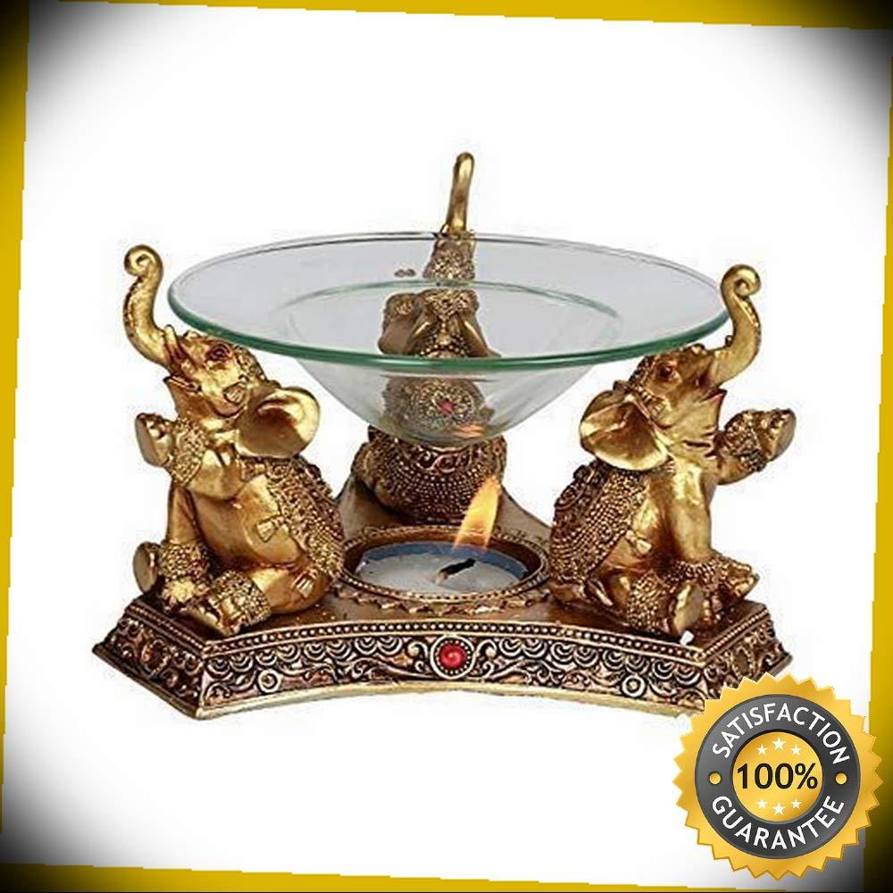 KARPP Pacific Giftware Golden Triple Elephant Oil Burner Home Decor Perfect Indoor Collectible Figurines