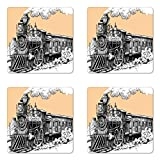 Ambesonne Steam Engine Coaster Set of Four, Vintage Wooden Train Rail Wild West Wagon in Countryside Drawing Effect Artsy, Square Hardboard Gloss Coasters for Drinks, Peach White
