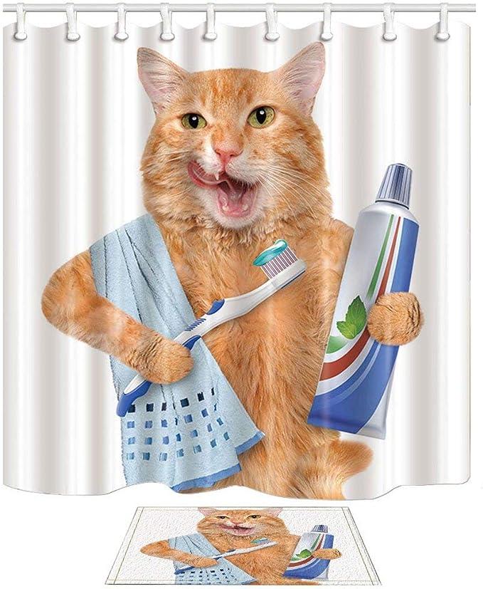 JoneAJ Estilo Minimalista Hermoso Dibujos Gato con Cepillo Dientes ...