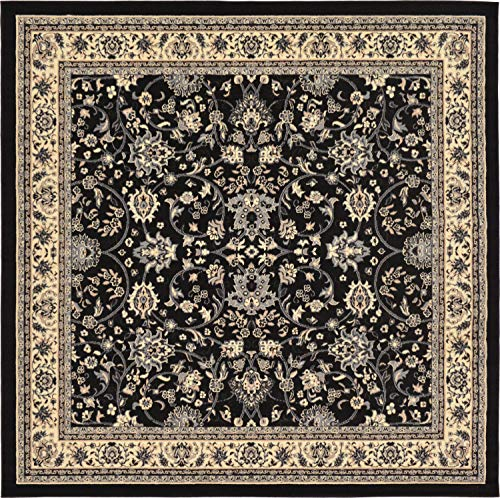 Unique Loom Kashan Collection Traditional Floral Overall Pattern with Border Black Square Rug (8' x 8')