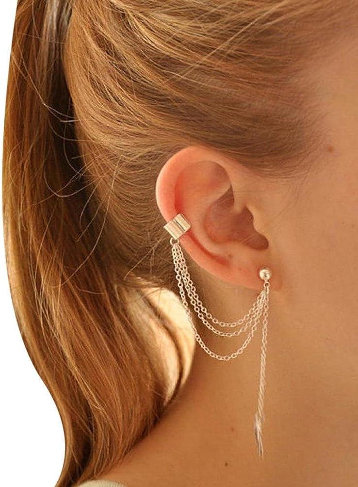 Gusspower Pendientes Mujer,Larga Borla Pendientes Gancho Pendientes de Diamantes de Imitación de Cristal del Oído de las Mujeres-Dorado y Plateado