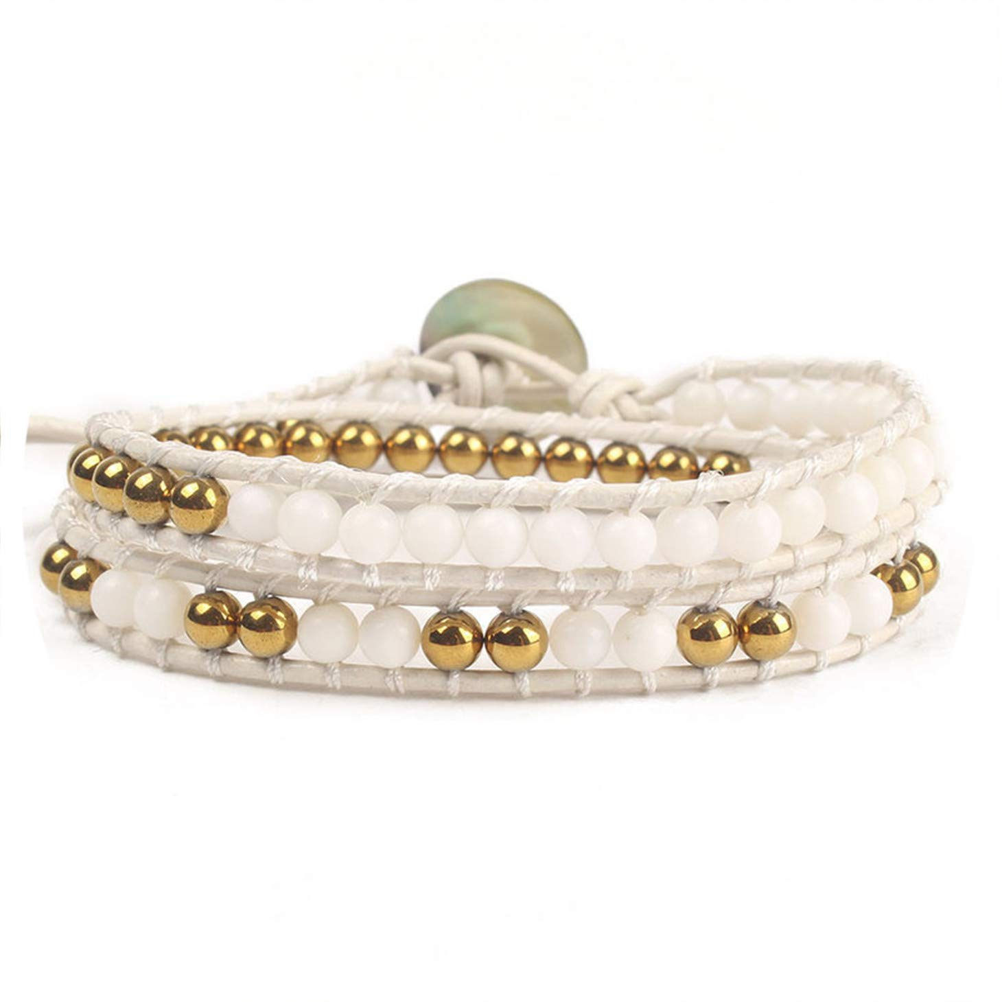 Unique Charming Beaded Bracelet Handmade Weaving White Leather Wrap Gold-Color & White Natural Ston