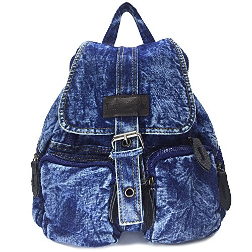 BXI Women Denim Backpack Girls School Backpack Casual Daypack (Pattern Blue) by BXI (Image #7)