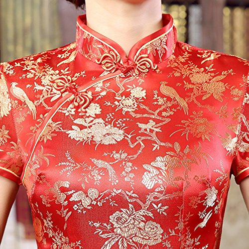 Rouge Longue Acvip En Imprimé Femme Qipao Robe Cheongsam Chinois Fleur Satin 6fwq8EfxB