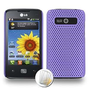 """ORIGINAL MUZZANO Purple """"Alvéolia"""" Shell for LG E510 + 3 """"UltraClear"""" Screen Protective Films for LG E510"""