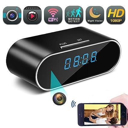 Camara Espia A-TION WiFi Despertador HD 1080P Cámara de Niñera P2P Inalámbrica Cámara de